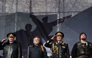 Вчерашний митинг в Севастополе. На трибуне стоят: Алексей Аксенов, Сергей Меняйло, Александр Витко и Александр Залдостанов.